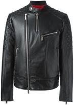 DSQUARED2 quilt sleeved leather jacket - men - Cotton/Sheep Skin/Shearling/Polyester - 46