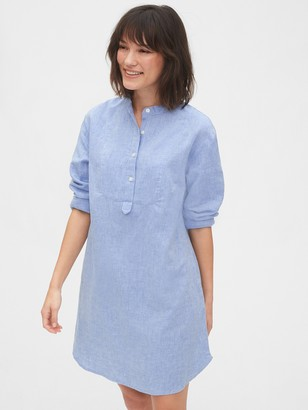 Gap Long Sleeve Shirtdress in Linen-Cotton