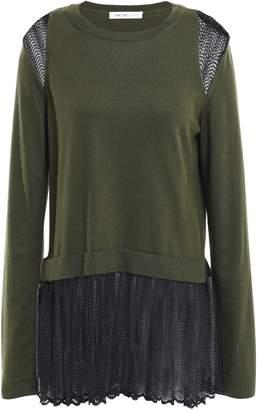 ADEAM Layered Silk And Macrame Lace Sweater
