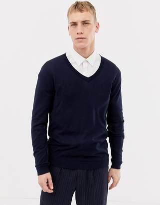 Asos Design DESIGN cotton v-neck sweater in navy