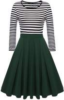 ACEVOG Women's Vintage Stripes Patchwok A-line Long Sleeve Cocktail Dress