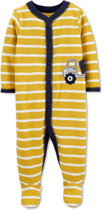 Carter's Carter Baby Boys Cotton Striped Truck Footed Coverall