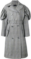 Simone Rocha checked trench coat - women - Cotton/Linen/Flax/Spandex/Elastane/Acetate - 8