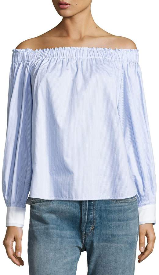 Elizabeth and James Geneva Off-The-Shoulder Cotton Top, Blue/White