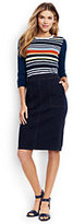 Lands' End Women's Petite Jean Pencil Skirt-Dark Indigo Wash