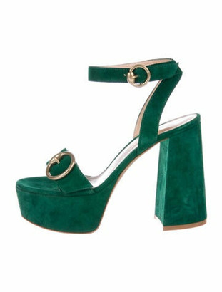 Gianvito Rossi Suede Sandals Green