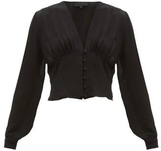 Nili Lotan Laila Button-down Silk-georgette Blouse - Womens - Black