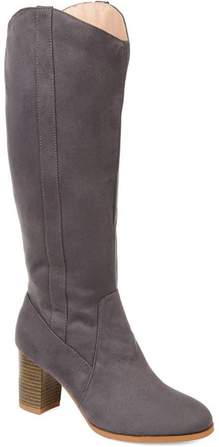 f8679cad435de Journee Collection Gray Almond Toe Women's Boots - ShopStyle