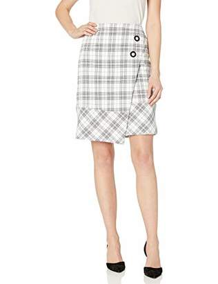 Nine West Women's Asymetrical 2 Button Plaid WRAP Skirt
