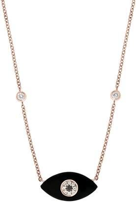 Effy 14K Rose Gold, Onyx, Black & White Diamond Evil Eye Pendant Necklace