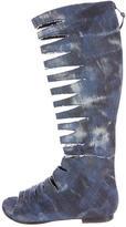 Stuart Weitzman Denim Cutout Boots
