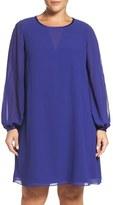 Vince Camuto Plus Size Women's Split Sleeve Chiffon Trapeze Dress