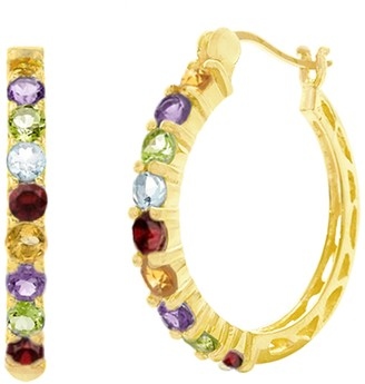 Savvy Cie 18K Gold Plated Genuine Semi Precious Hoop Earrings
