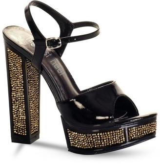 "The Highest Heel Retro Series 101 Sandals with 5"" High Heel Covered with Rhinestones"