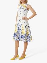 Hobbs Cleo Floral Print Midi Dress, Ivory/Multi
