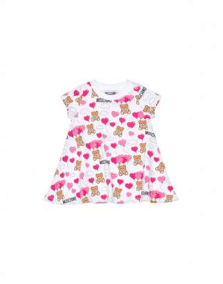 Moschino Teddy Heart Balloons All Over Dress Unisex White Size 6/9m It