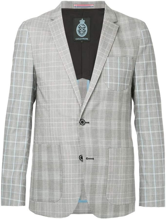 GUILD PRIME patchwork check blazer