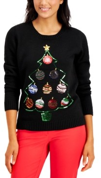 Karen Scott Petite Ornament Christmas Tree Pullover Sweater, Created for Macy's