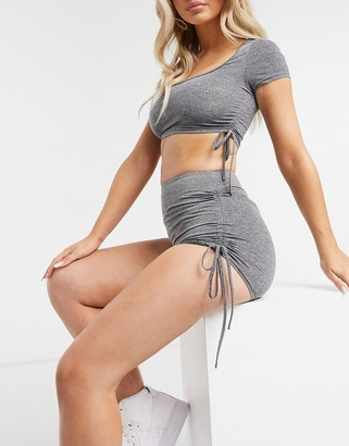 Love & Other Things gathered co-ord booty shorts in dark grey