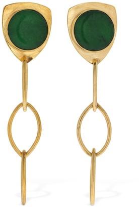 LIYA Green Stone Chain Earrings