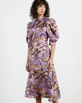 Ted Baker Printed Short Sleeve Silk Dress