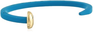 Giles & Brother Giles and Brother Blue Rubberized Skinny Railroad Spike Cuff with Gold Finished Nail Head Cuff Bracelet