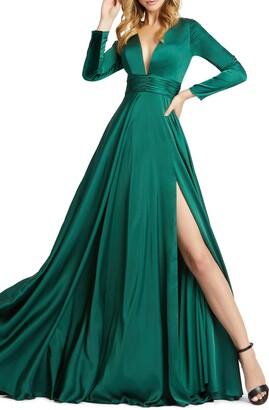 Mac Duggal Long Sleeve Satin A-Line Gown