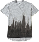 Armani Exchange Long City Graphic Short-Sleeve V-Neck Tee