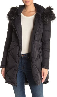 French Connection Asymmetrical Zip Faux Fur Trim Hood Quilted Coat