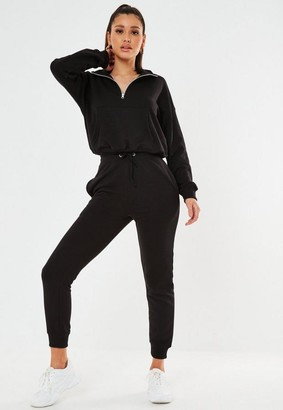 Missguided Black Zip Front Jogger Co Ord Set