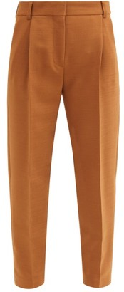 See by Chloe City Cropped Pleated-rise Twill Trousers - Brown
