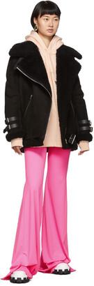Acne Studios Black Suede Shearling Aviator Jacket