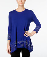 JM Collection Petite Embellished-Hem Top, Only at Macy's