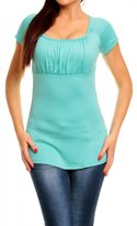 Glamour Empire. Women's Top T-shirt Short Sleeves. Flattering Ruched Bust. 005 (, 10)