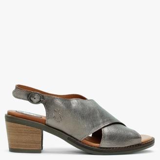 Fly London Zako Bronze Leather Cross Strap Sandals