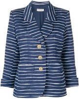 Saint Laurent Pre Owned floral jacquard striped blazer