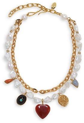 Lizzie Fortunato Tarot Garden 18K Goldplated, 12-16MM Pearl & Mixed-Stone 2-Strand Necklace