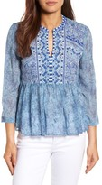 Lucky Brand Women's Embroidered Georgette Babydoll Top