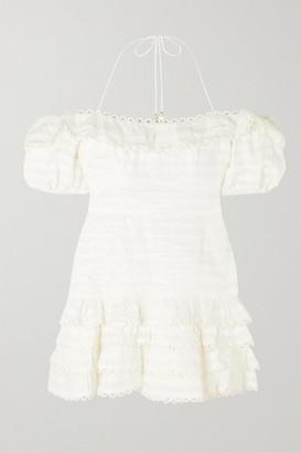 Zimmermann Allia Cold-shoulder Ruffled Linen Mini Dress - Ivory