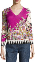 Etro Paisley Stampa V-Neck Sweater, Fuchsia/Black
