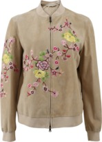 Etro Suede Floral Embroidered Bomber