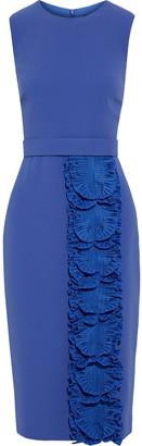 Max Mara Morina Belted Ruffle-trimmed Cady Dress