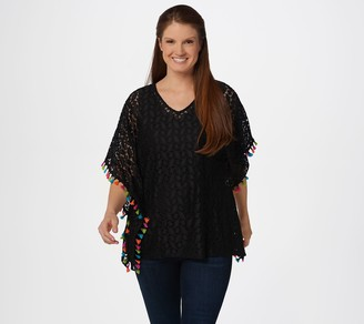 Susan Graver Stretch Lace Scarf Top and Liquid Knit Tank Set