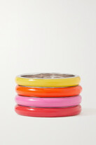 Thumbnail for your product : Fry Powers The Cool Set Unicorn Rainbow Set Of Four Silver And Enamel Rings - Red