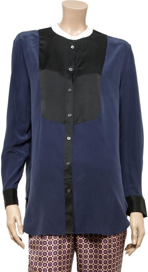 Equipment Tanner contrast-bib washed-silk shirt