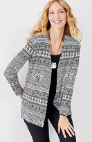 J. Jill Jacquard Open-Front High-Low Cardi
