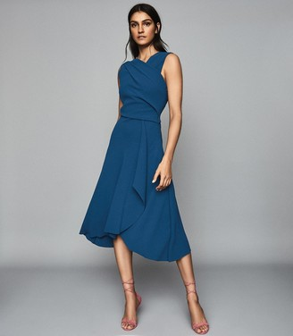 Reiss MARLING WRAP FRONT MIDI DRESS Teal
