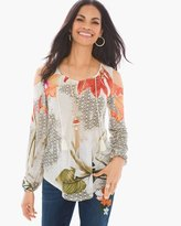 Chico's Painted Botanical Cold-Shoulder Top