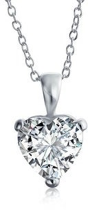 Bling Jewelry 4 CT Heart Shape Solitaire CZ Bridal Pendant Necklace Sterling Silver