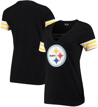 New Era Women's Black Pittsburgh Steelers Contrast Sleeve Stripe V-Neck T-Shirt